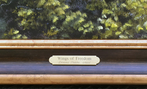 brass plate for Wings of Freedom by Donna Peters