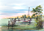 By The Dock, hand painted LandMarks Series by Donna Peters