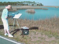 Donna Peters painting near Apalachicola