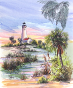 St. Marks Light, verticak hand-painted LandMark by Donna Peters