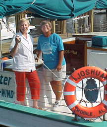 Donna Peters with Capt Carol Bramblett, Schooner Joshua