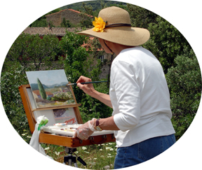Donna Peters painting in Italy