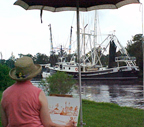 Donna at work in Bayou LaBatre